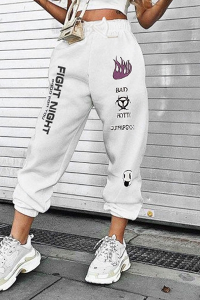 Купить со скидкой Hip Hop White Elastic Waist Drawstring Letter FIGHT NIGHT Graphic Cuffed Ankle Oversize Sweatpants f