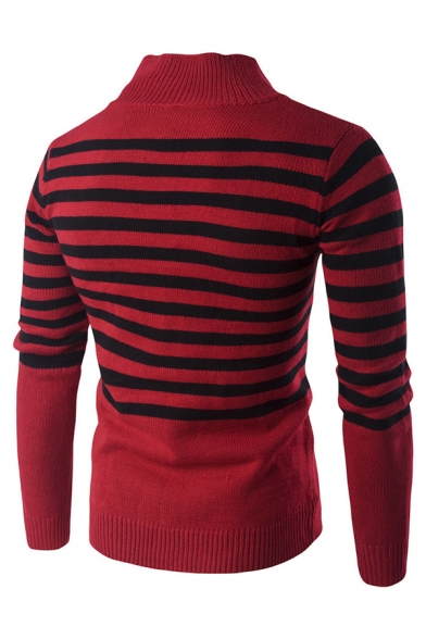 Mens Casual Black Striped Printed Half Zip Long Sleeve Red Boucle Knit Fitted Pullover Sweater