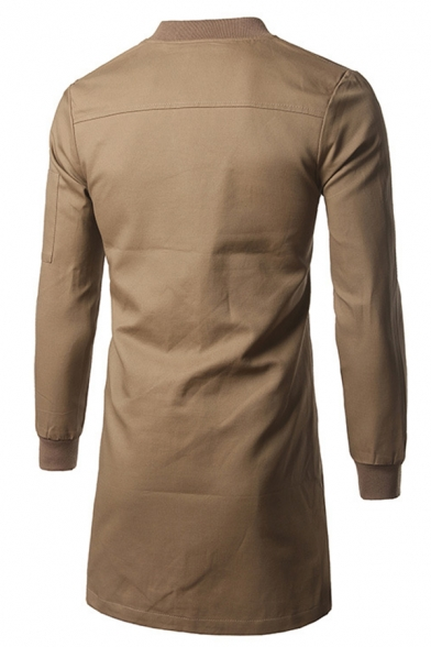 Mens Chic Plain Stand Collar Long Sleeve Zip Placket Casual Tunic Jacket Coat