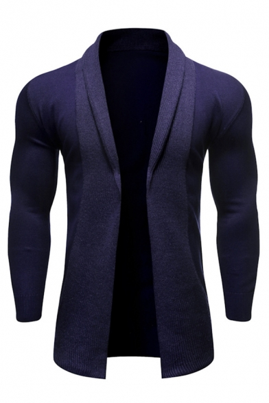 Mens Classic Long Sleeve Open Front Slim Fit Casual Plain Tunic Shawl Cardigan