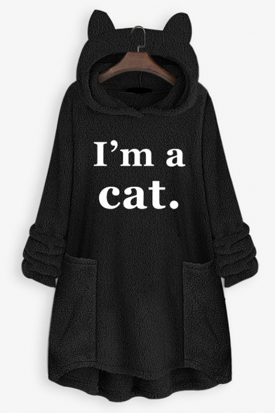 New Stylish Letter I' A CAT Print Long Sleeve Longline Loose Cat Ear Hoodie, Black;brown;burgundy;pink;royal blue;white;gray;yellow;coffee, LC575390