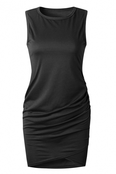 Plain Elegant Sleeveless Crew Neck Ruched Short Bandage Dress for Ladies