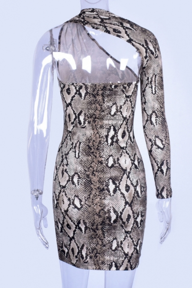 Sexy Fahison Snake Skin Pattern One Shoulder Brown Hollow Out Backless Side Split Mini Party Club Dress