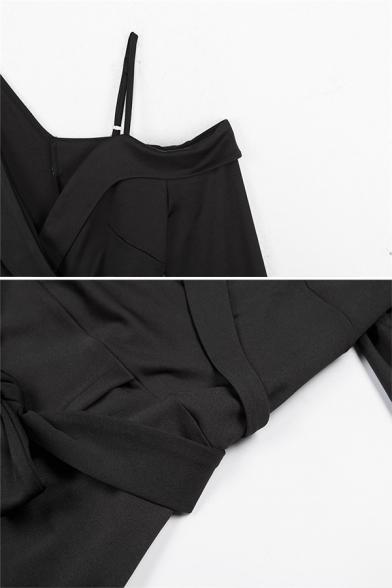 Unique Black Long Sleeve Cold Shoulder Bow-Tied Waist Slit Front Short Wrap Bodycon Dress for Ladies