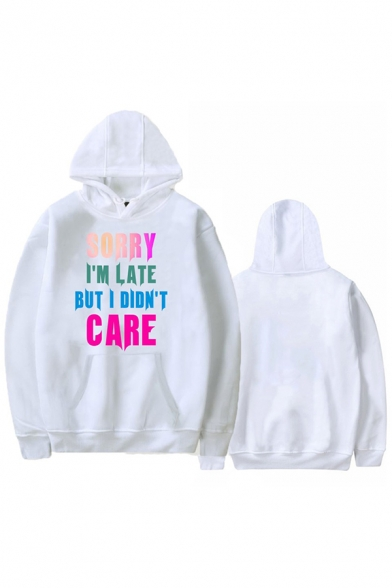 Unique Letter SORRY I'M LATE BUT I DIDN'T CARE Long Sleeve Unisex Oversized Hoodie
