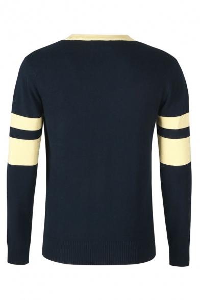 Varsity Striped Printed Long Sleeve Contrast Trim Button Down Slim Fit Dark Blue Streetwear Cardigan Coat