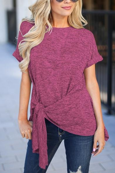 Women's Casual Plain Short Sleeve Side Tied Space Dye Asymmetric Tee Top LM571628 фото