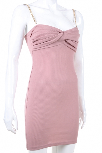 Womens Chic Detachable Gold Chain Straps Twisted Font Pink Mini Fitted Slip Dress