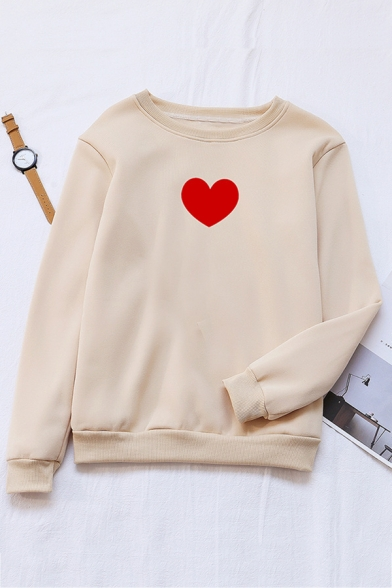 Womens Simple Red Heart Printed Long Sleeve Loose Fit Pullover Sweatshirt, Black;green;pink;red;white;gray;sky blue;khaki;navy, LC570985