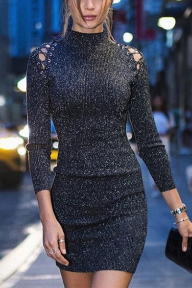 Baycheer / Womens Stylish Lace-Up Patched Long Sleeve Mock Neck Plain Black Bodycon Dress