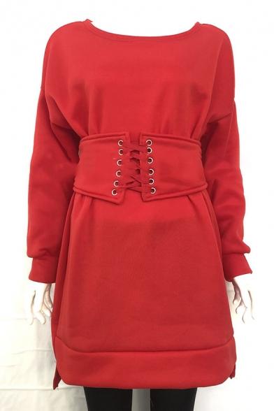 Casual Sport Women's Long Sleeve Drop Shoulder Lace Up Waist Plain Mini Sheath Sweatshirt Dress