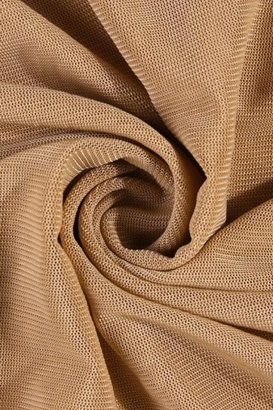 Ladies Summer Trendy Plain Brown Lantern Short Sleeve Square Neck Shirred Mesh Mini Bodycon Dress
