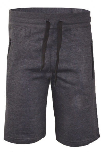 Mens Active Sport Drawstring Waist Zipper Pocket Plain Flat Front Shorts