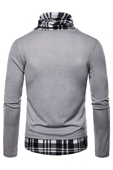 Mens Classic Plaid Patched Pile Collar Long Sleeve Slim Fit Casual Pullover Sweater