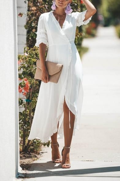Pretty Elegant Girls' Short Sleeve Surplice Neck Bow Tie Waist Ruffled Trim Slit Front Long White Wrap Flowy Dress