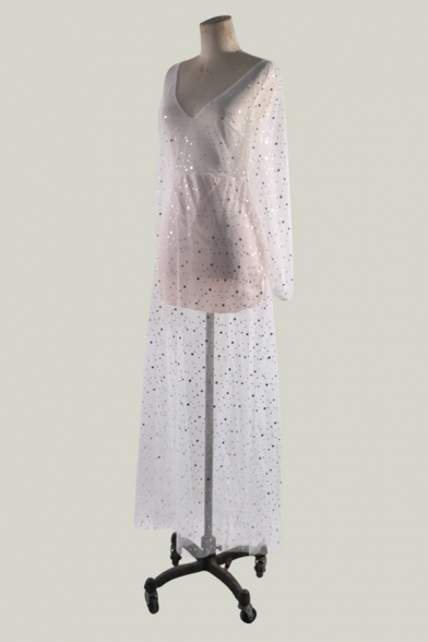 Special Occasion White Long Sleeve Deep V-Neck Open Back Sequined Sheer Mesh Tiered Pleated Maxi Evening Flowy Dress for Ladies
