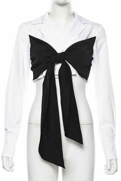 Unique Women's Long Sleeve Deep V-Neck Bow-Tie Patched Fitted Crop Blouse in White
