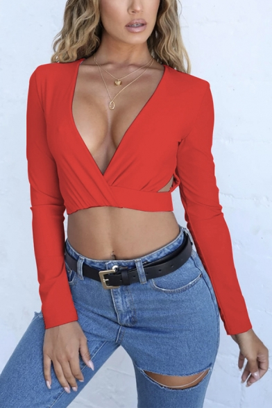 Women's Edgy Looks Long Sleeve Deep V-Neck Hollow Out Plain Fitted Wrap Cotton Crop Tee