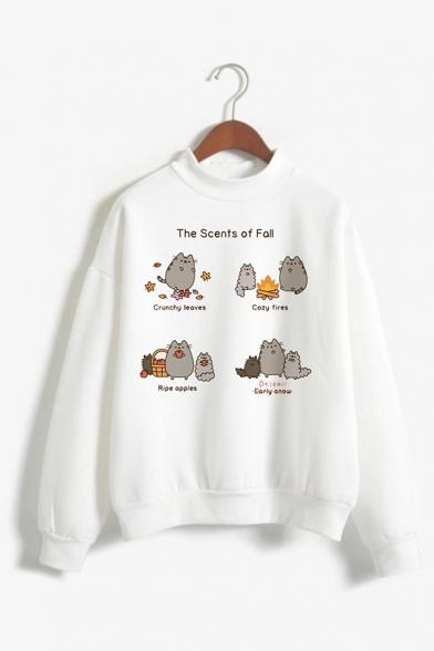 Womens Cute Fat Cat Pattern Long Sleeve Mock Neck White Pullover Sweatshirt