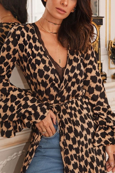 Womens Fashion Printed V-Neck Ruffled Sleeve Split Front Sexy Maxi Wrap Dress
