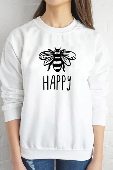 Купить со скидкой Womens Funny Letter HAPPY Bee Pattern Long Sleeve Round Neck Pullover Sweatshirt