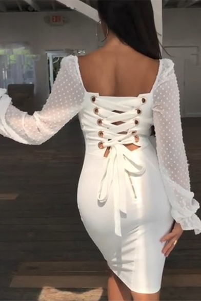 Womens Plain White Dot Printed Lace Bell Long Sleeve Lace Up Back Midi Pencil Dress for Party LM571045 фото