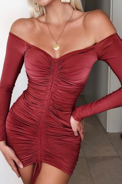 Womens Sexy Party Wear Solid Color Off Shoulder Long Sleeve Drawstring Shirred Front Mini Bodycon Dress