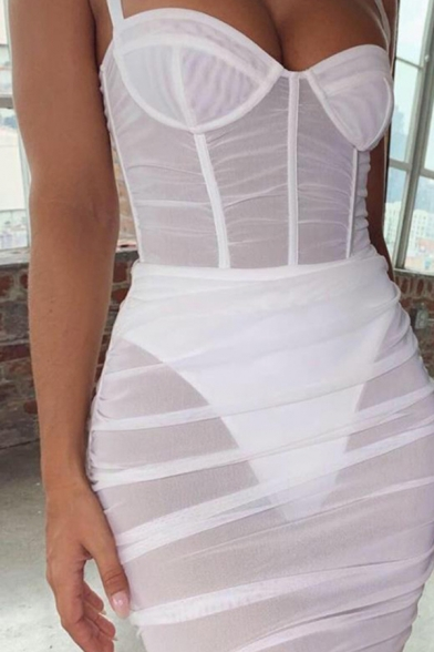 Womens Sexy Slim Fit Ruched Detail Plain Mini Sheer Tulle Strap Dress for Club