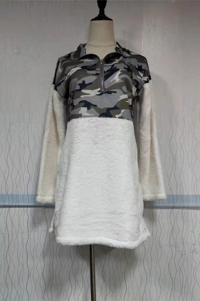 Womens Stylish Camo Printed Long Sleeve Half Zip Loose White Tunic Plush Pullover Sweatshirt