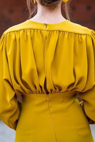 Fancy Formal Long Sleeve V-Neck Zipper Back Ruched Yellow Midi Bodycon Dress for Women