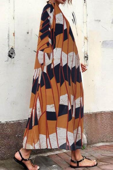 Fancy Girls' Three-Quarter Sleeve Round Neck Striped Patterned Maxi Oversized Bohemian Dresses