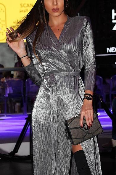 Fashion Grey Long Sleeve Surplice Neck Bow-Tie Waist Slit Front Midi Wrap Dress for Ladies