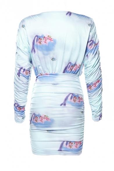 Ladies Chic Blue Angel Printed Long Sleeve Deep V-Neck Ruched Detail Mini Bandage Dress