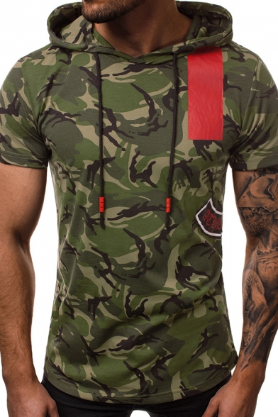 Mens Cool Camouflage Colorblock Printed Short Sleeve Fitted Drawstring Hoodie