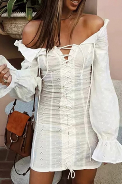Summer Popular Solid Color Bell Long Sleeve Off Shoulder Lace Up Front Retro Mini Party Dress LM570316 фото