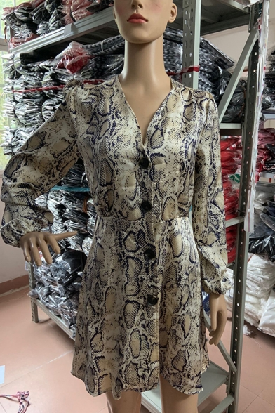 Unique Women's Long Sleeve V-Neck Button Down Snake Patterned Short A-Line Dress in Grey