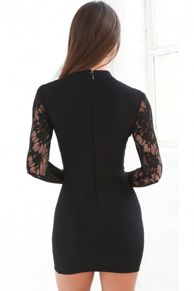 Womens Elegant Plain Lace Panel Long Sleeve Cutout Front Mini Bodycon Dress for Party