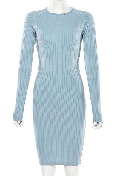 Womens Fashionable Plain Striped Pattern Knot Open Back Long Sleeve Round Neck Sexy Midi Dress
