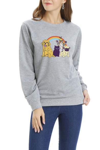 Womens Lovely Cartoon Rainbow Cat Dog Printed Long Sleeve Pullover Sweatshirt, Black;blue;pink;red;white;gray, LC575763
