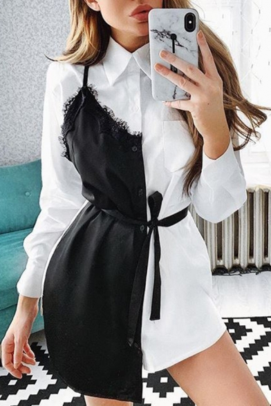 Womens New Stylish Colorblocked Lace Panel Long Sleeve Tied Waist Button Down Mini Shirt Dress