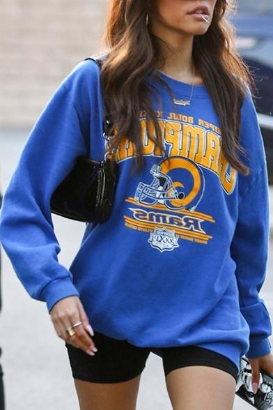 Womens Popular Royal Blue CHAMPIONS Printed Long Sleeve Oversized Graphic Sweatshirt