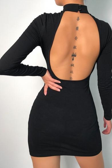 Womens Sexy Fashion Letter Printed Mock Neck Open Back Long Sleeve Black Mini Bodycon Dress