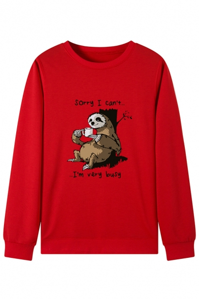 Cartoon Bradypod SORRY I CAN'T I'M VERY BUSY Letter Printed Long Sleeve Pullover Sweatshirt