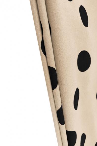 Casual Fashion Polka Dot Printed Round Neck Long Sleeve Tied Waist Midi Dress