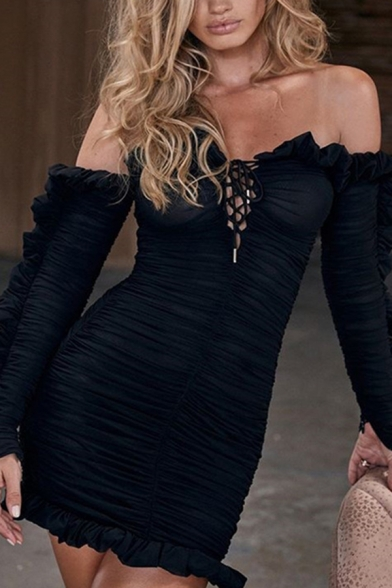 Chic Ruffle Trim Off the Shoulder Tie Front Long Sleeve Ruched Mesh Mini Night Club Dress in Black
