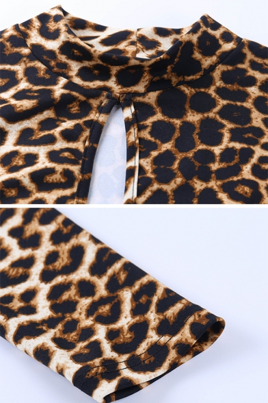 Classic Leopard Pattern Long Sleeve Hollow Out Front Rhinestone Tassel Brown Mini Party Dress