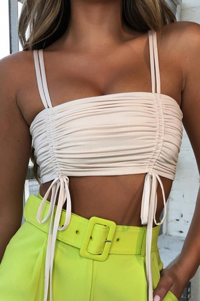 Cool Edgy Girls Sleeveless Square Neck Cami Ruched Tie Crop Tube Top, Green;orange;white, LM570652