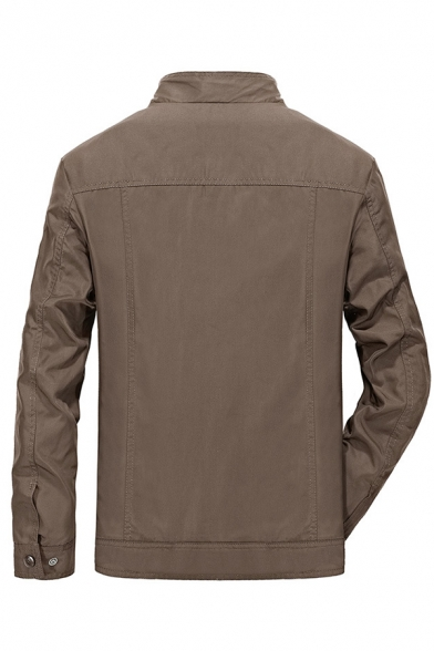 Mens Casual Military Style High Collar Badge Printed Long Sleeve Zip Placket Plain Fitted Jacket with Zipper Pocket