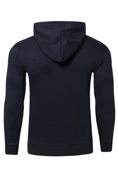 Mens Creative Figure Printed Long Sleeve Slim Fit Casual Drawstring Hoodie