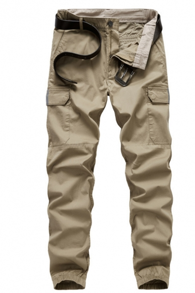 New Trendy Solid Color Khaki Multi-Pocket Zip Front Casual Cargo Pants